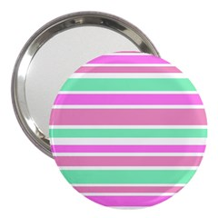 Pink Green Stripes 3  Handbag Mirrors