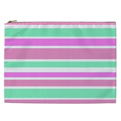 Pink Green Stripes Cosmetic Bag (XXL)