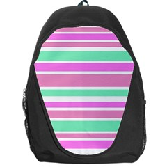 Pink Green Stripes Backpack Bag