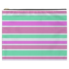 Pink Green Stripes Cosmetic Bag (XXXL)