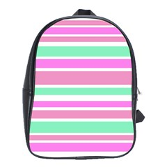 Pink Green Stripes School Bags (XL)