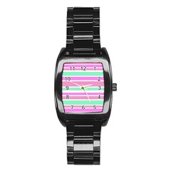 Pink Green Stripes Stainless Steel Barrel Watch