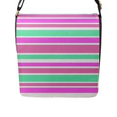 Pink Green Stripes Flap Messenger Bag (L)