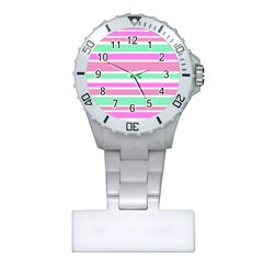 Pink Green Stripes Plastic Nurses Watch