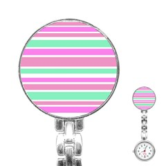 Pink Green Stripes Stainless Steel Nurses Watch