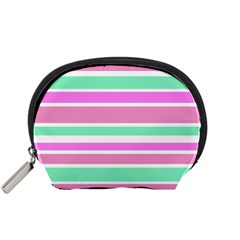 Pink Green Stripes Accessory Pouches (Small)