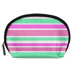 Pink Green Stripes Accessory Pouches (Large)