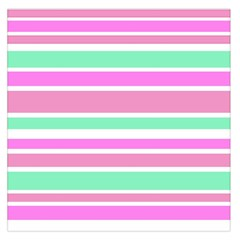 Pink Green Stripes Large Satin Scarf (Square)