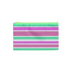 Pink Green Stripes Cosmetic Bag (XS)