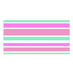 Pink Green Stripes Satin Shawl