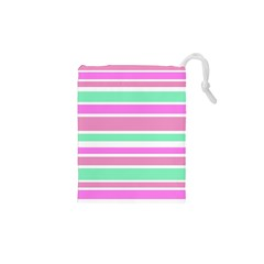Pink Green Stripes Drawstring Pouches (XS)