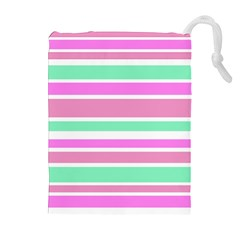 Pink Green Stripes Drawstring Pouches (Extra Large)