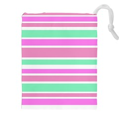 Pink Green Stripes Drawstring Pouches (XXL)