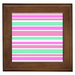 Pink Green Stripes Framed Tiles