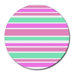 Pink Green Stripes Round Mousepads