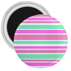 Pink Green Stripes 3  Magnets
