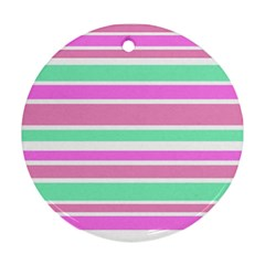 Pink Green Stripes Ornament (Round)