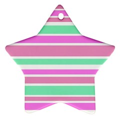 Pink Green Stripes Ornament (Star)
