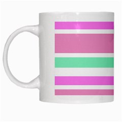 Pink Green Stripes White Mugs