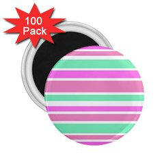 Pink Green Stripes 2 25  Magnets (100 Pack)  by BrightVibesDesign