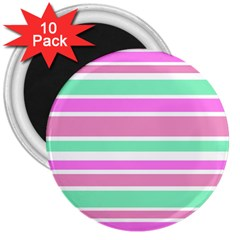 Pink Green Stripes 3  Magnets (10 Pack)  by BrightVibesDesign