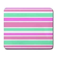 Pink Green Stripes Large Mousepads