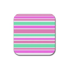 Pink Green Stripes Rubber Square Coaster (4 pack)