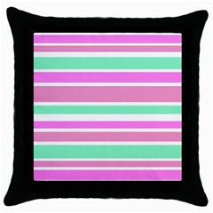 Pink Green Stripes Throw Pillow Case (black) by BrightVibesDesign