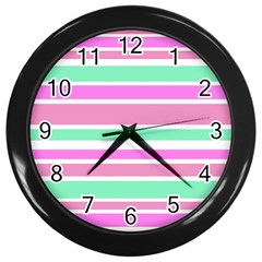 Pink Green Stripes Wall Clocks (Black)
