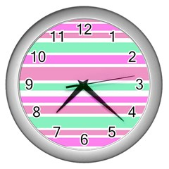 Pink Green Stripes Wall Clocks (silver)  by BrightVibesDesign