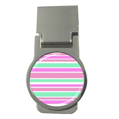 Pink Green Stripes Money Clips (Round)