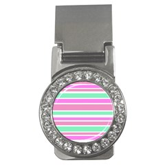 Pink Green Stripes Money Clips (CZ)