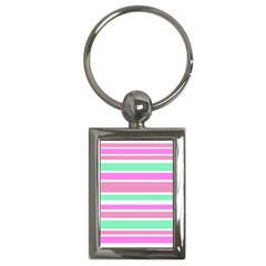 Pink Green Stripes Key Chains (rectangle)  by BrightVibesDesign