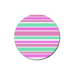 Pink Green Stripes Rubber Round Coaster (4 pack)