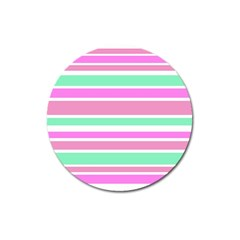 Pink Green Stripes Magnet 3  (Round)