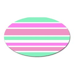 Pink Green Stripes Oval Magnet by BrightVibesDesign