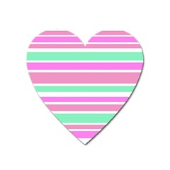 Pink Green Stripes Heart Magnet by BrightVibesDesign