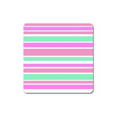 Pink Green Stripes Square Magnet by BrightVibesDesign