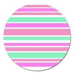 Pink Green Stripes Magnet 5  (Round)