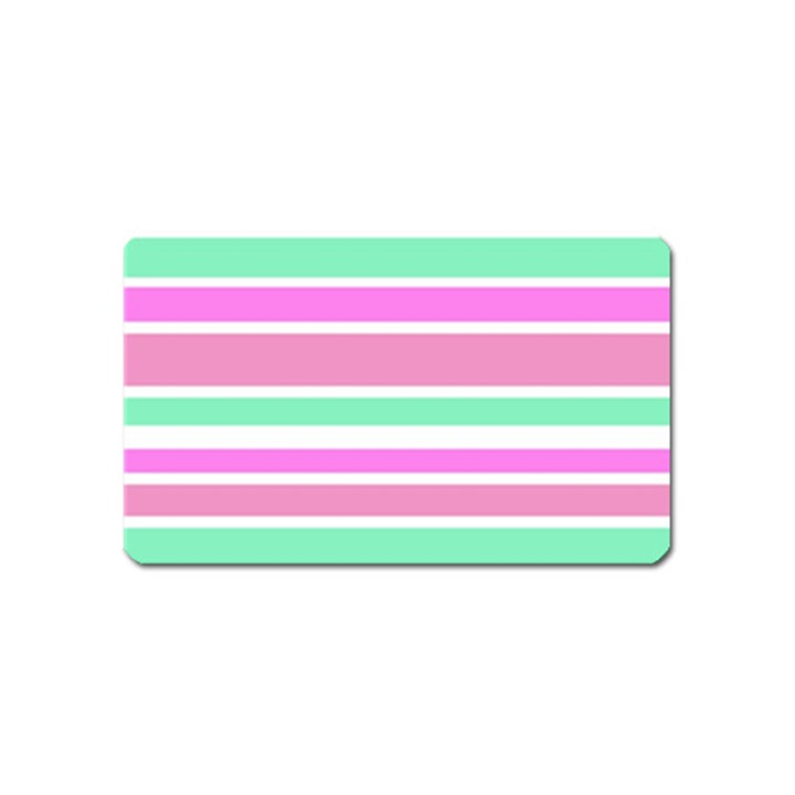 Pink Green Stripes Magnet (Name Card)