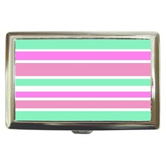 Pink Green Stripes Cigarette Money Cases by BrightVibesDesign
