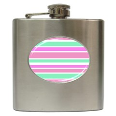 Pink Green Stripes Hip Flask (6 oz)