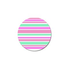 Pink Green Stripes Golf Ball Marker