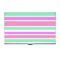 Pink Green Stripes Business Card Holders by BrightVibesDesign
