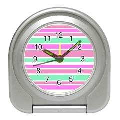 Pink Green Stripes Travel Alarm Clocks