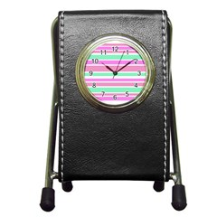 Pink Green Stripes Pen Holder Desk Clocks