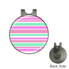 Pink Green Stripes Hat Clips with Golf Markers