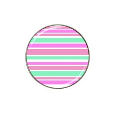 Pink Green Stripes Hat Clip Ball Marker