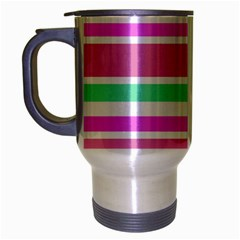 Pink Green Stripes Travel Mug (Silver Gray)