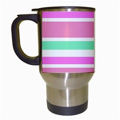 Pink Green Stripes Travel Mugs (white) by BrightVibesDesign